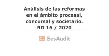 Análisis de las reformas en el ámbito procesal, concursal y societario. RD 16 / 2020